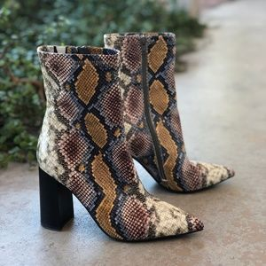 Jeffrey Campbell Siren Snakeskin Ankle Boots